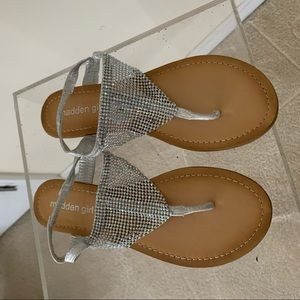 Madden girl silver metallic thong sandals